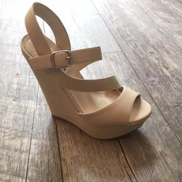 Bone Colored Platform Wedge Sandal